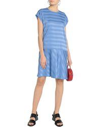 MSGM Striped Satin-jacquard Mini Dress Light Blue