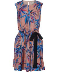 Emilio Pucci Blue Bow-detailed Printed Silk-twill Mini Dress Taupe