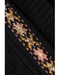 Valentino Black Embroidered Wool And Cashmere-blend Cable-knit Gilet