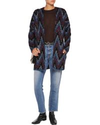 Maje - Blue Reversible Intarsia-knit Cardigan - Lyst