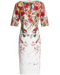 Lela Rose - White Claire Floral-print Stretch-cotton Dress - Lyst