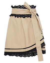 Marissa Webb - Natural Woman Ariella Wrap-effect Lace-trimmed Cotton-blend Piqué Mini Skirt Beige - Lyst