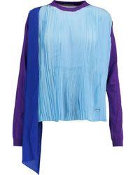 Vionnet - Blue Plissé-paneled Silk Top - Lyst