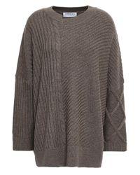 OSMAN Patchwork-effect Merino Wool Sweater Brown