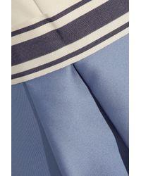 Max Mara Blue Crepe And Pleated Satin Dress
