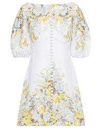 Zimmermann Brightside Gathered Floral-print Linen Mini Dress Sky Blue