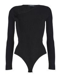 Cushnie et Ochs - Black Vivian Asymmetric Ribbed-knit Bodysuit - Lyst
