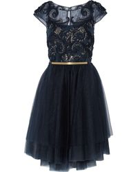 Notte by Marchesa Blue Embellished Tulle Dress