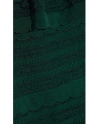M Missoni Ruffled Crochet-knit Cotton-blend Dress Forest Green