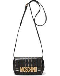 Moschino Studded Leather Shoulder Bag Black