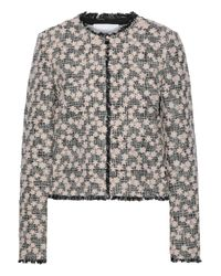 Giambattista Valli Multicolor Floral-appliquéd Cotton-blend Tweed Jacket Blush