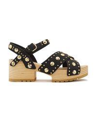 Maje Studded Leather Platform Sandals Black