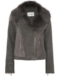 Yves Salomon Shearling Biker Jacket Gray