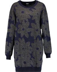 DKNY - Blue Intarsia-knit Sweater - Lyst