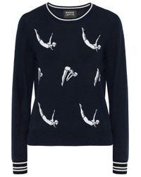 Markus Lupfer Grace Intarsia Merino Wool Sweater Midnight Blue