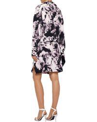 Roberto Cavalli - Multicolor Belted Printed Silk Mini Dress - Lyst
