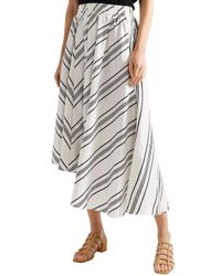 Apiece Apart White Turkanna Asymmetric Striped Linen And Silk-blend Midi Skirt