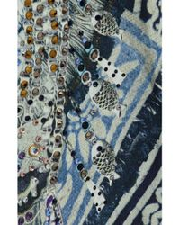 Camilla Green Tales Of Batik Layered Crystal-embellished Printed Silk Blouse