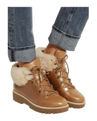 MICHAEL Michael Kors   Brown Putnam Shearling-trimmed Leather Ankle Boots   Lyst