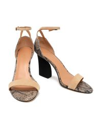 Halston Heritage Natural Woman Snake-effect Leather And Suede Sandals Beige
