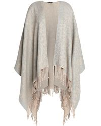 Roberto Cavalli Natural Woman Fringe-trimmed Cotton-blend Jacquard Wrap Beige