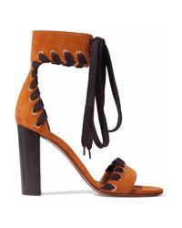 Chloé Multicolor Whipstitch-effect Lace-up Suede Sandals
