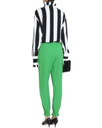 MSGM Green Crepe Tapered Pants