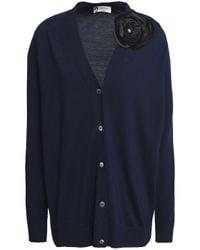 Lanvin Blue Floral-appliquéd Knitted Wool Top
