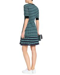 M Missoni Blue Printed Crochet-knit Mini Dress