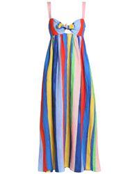 Mara Hoffman Woman Bow-detailed Cutout Striped Linen Maxi Dress Blue Size 2