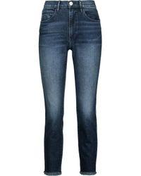 3x1 Blue W3 Cropped Frayed High-rise Straight-leg Jeans Dark Denim