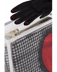 Charlotte Olympia Black Appliquéd Houndstooth And Acrylic Box Clutch
