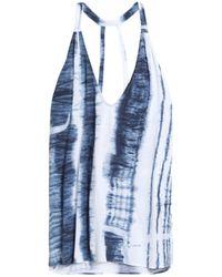 Haute Hippie Blue Tie-dye V-neck Muscle Tank