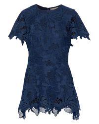 Lela Rose - Blue Woman Wool-blend Guipure Lace Top Navy - Lyst