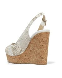 Jimmy Choo - White Prova Leather-trimmed Woven Wedge Sandals - Lyst