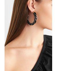 Aurelie Bidermann - Black Diana Gold-plated Enamel Hoop Earrings - Lyst