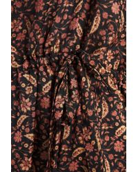 Zimmermann Bow-detailed Printed Silk-satin Jumpsuit Midnight Blue
