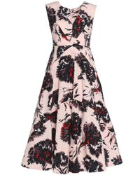 Mikael Aghal Pink Paneled Printed Cotton-twill Dress