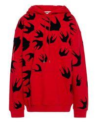 McQ Alexander McQueen Red Beflockter Hoodie Aus Baumwollfrottee Größe Xxs