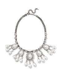 Kenneth Jay Lane - Metallic Gunmetal-tone Crystal And Faux Pearl Necklace - Lyst