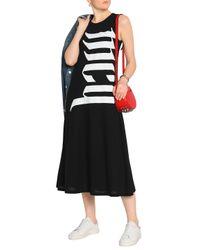 McQ Alexander McQueen Black Printed Cotton-jersey Midi Dress