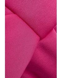 Delpozo Pink Strapless Bow-embellished Neoprene Dress Fuchsia