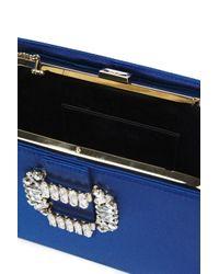 Roger Vivier Crystal-embellished Velvet And Satin Clutch Cobalt Blue