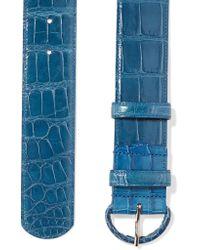 Oscar de la Renta - Blue Wide Alligator Waist Belt - Lyst