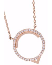 Astrid & Miyu Metallic Woman Fitzgerald Circle 14-karat Rose Gold-plated Crystal Necklace Rose Gold