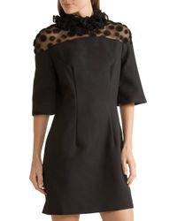 House of Holland Black Ruffled Crepe And Flocked Tulle Mini Dress