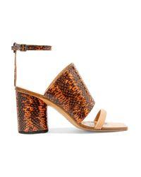 Maison Margiela Orange Snake-effect Leather Sandals