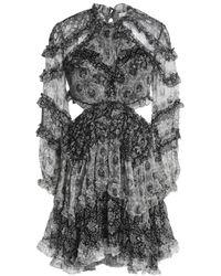 Zimmermann Black Cutout Ruffled Printed Silk-georgette Mini Dress