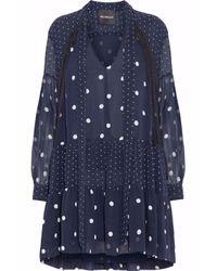 Nicholas - Blue Pussy-bow Printed Silk-georgette Mini Dress - Lyst