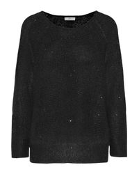 Joie - Black Emari Sequin-embellished Stretch-knit Sweater - Lyst